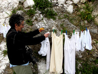 Hanging out the Yaya's Laundry, Anogia, Crete